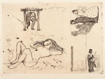 Edvard Munch-Under the Yoke and The Suicide / Under aket og Selvmorderen-1896