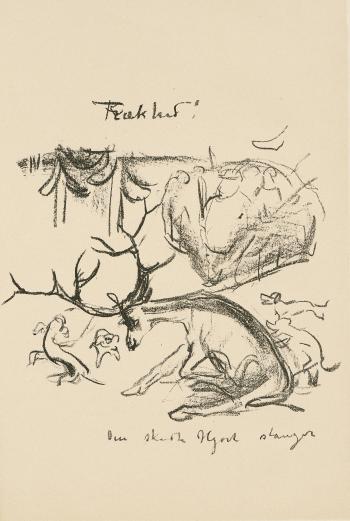 Edvard Munch-Karikatur: Den skutte hjort stanger!-1910
