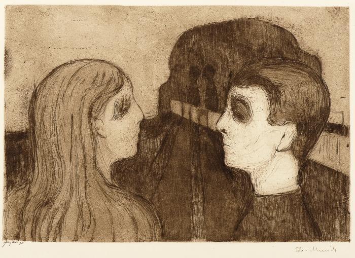 Edvard Munch-Attraction II / Tiltrekning II-1895