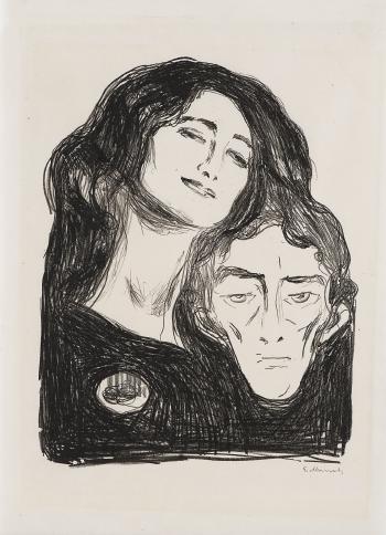 Edvard Munch-Salome, Self portrait with Eva Mudocci / Salome - Selvportrett med Eva Mudocci (Woll 245, Schiefler 213)-1903
