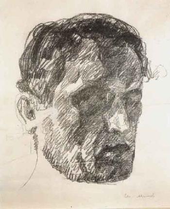 Edvard Munch-Self-Portrait in Shadow-1912