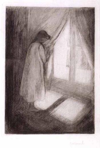 Edvard Munch-Das Madchen am Fenster / Piken ved Vinduet / The Girl at the Window (Woll 5)-1894