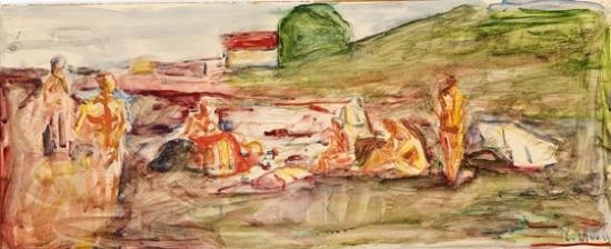 Edvard Munch-Utkast til Forskerne, Alma Mater, Badescene / Sketch for the Scientists, Alma Mater, Bathing Scene-