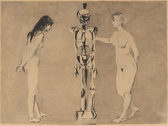 Edvard Munch-Kvinnene ved skjelettet / The Women and the Skeleton (Woll 51)-1896