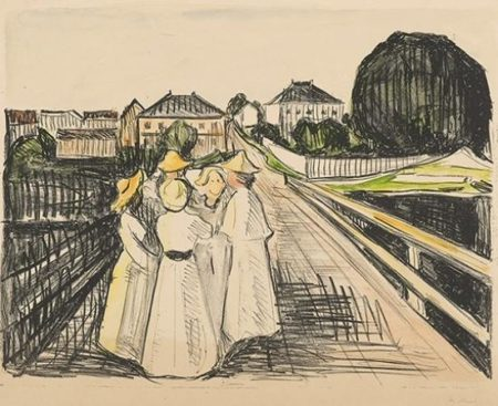 Edvard Munch-Pa Broen / On the bridge (Woll no. 416)-1913