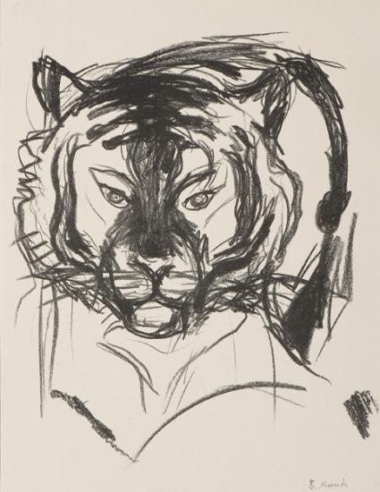 Edvard Munch-Tigerhode I / Tiger's Head I (Woll no. 318)-1909