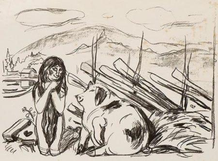 Edvard Munch-Omega og Svinet / Omega and the Pig-1909
