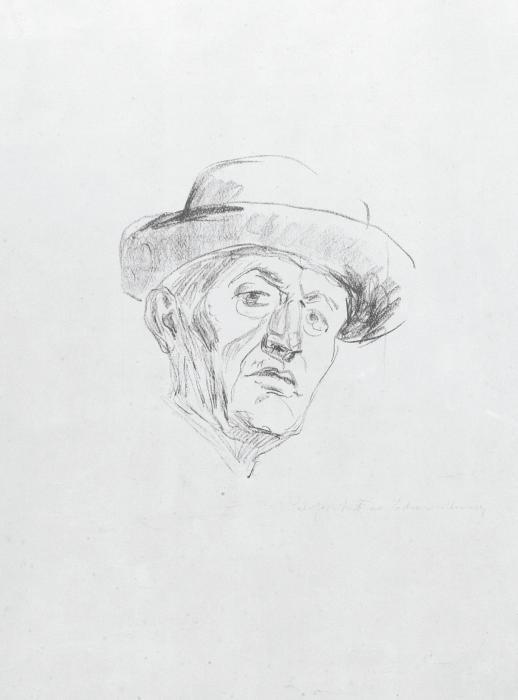 Edvard Munch-Self-portrait with Hat I / Selbstbildnis in Hut I / Selvportrett med Hatt I (Woll 681)-1927