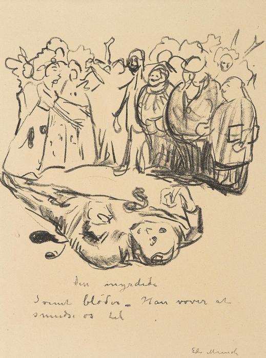 Edvard Munch-Caricature: The Murdered (Karikatur: Den Myrdede)-1910