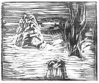 Edvard Munch-Hagen i Sno I (Garden in Snow)-1913