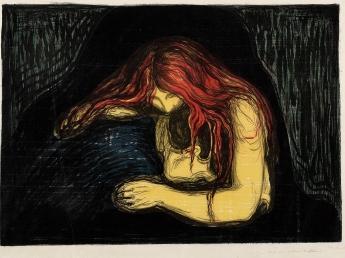 Edvard Munch-Vampyr II / Vampire II / Liebe und Schmerz (Woll 41; Sch. 34)-