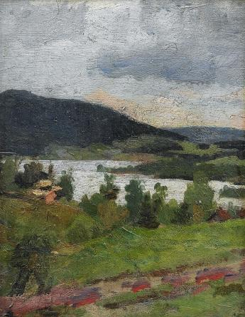 Edvard Munch-Man in Landscape-