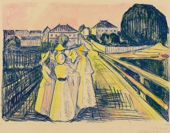 Edvard Munch-Auf der Brucke (On a Bridge)-