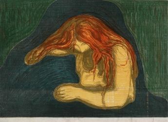 Edvard Munch-Vampyr II / Vampire II / Liebe und Schmerz (Woll 41; Sch. 34)-1895