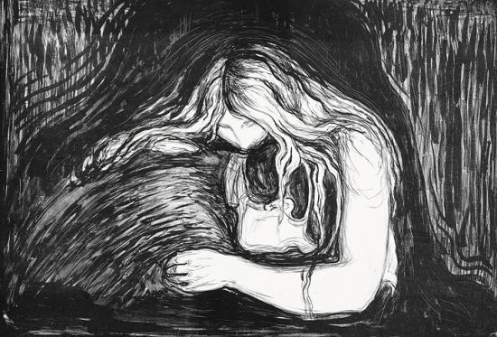 Edvard Munch-Vampyr I / Detvampyr II / Vampire II (Woll 41)-1895