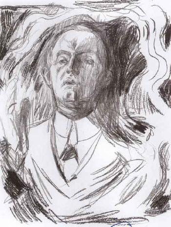 Edvard Munch-Selvportrett med Sigar / Self-portrait with Cigar (Woll 313)-1909