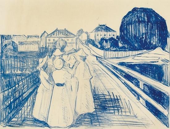 Edvard Munch-Pa Broen / On the bridge-1913