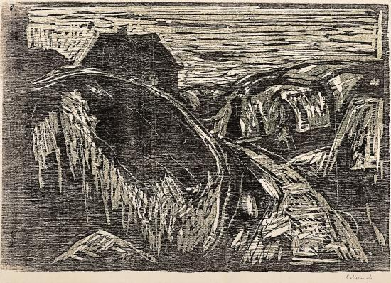 Edvard Munch-The House on the Coast II / Huset ved Kysten II (Woll 539)-1916
