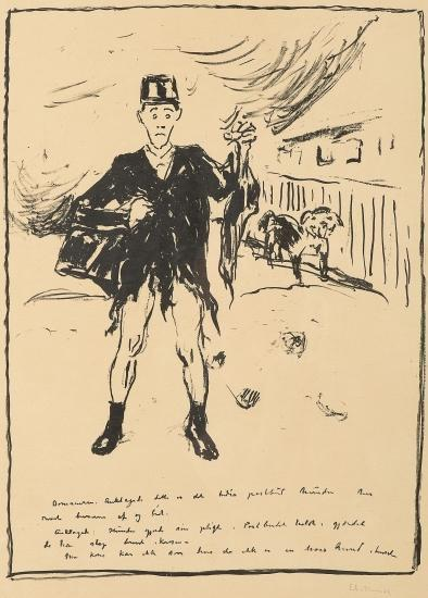 Edvard Munch-The Dog Attacking the Postman / Hunden Overfaller Postbudet-1938