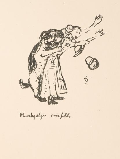 Edvard Munch-The Dog Attacking the Maid-1938