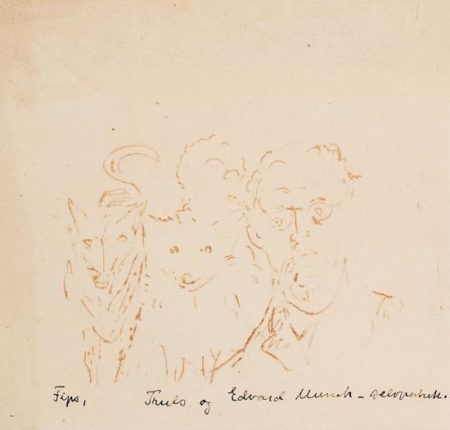 Edvard Munch-Selvportrett med to Hunder Truls of Fips III / Self-portrait with Two Dogs, Truls and Fips III-