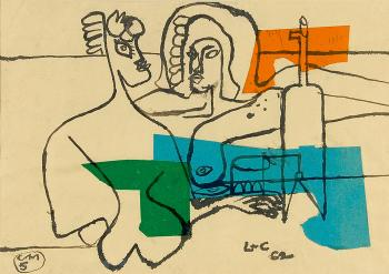 Le Corbusier-Deux femmes nues devant un siphon et un verre-1962