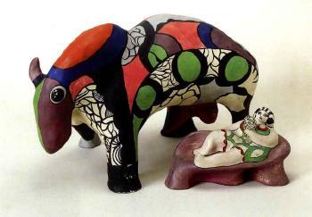 Niki de Saint Phalle-Haligon a Paris, taureau et femme a la lorgnette-