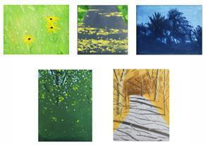 Alex Katz-Five Seasons (Landscapes Series): Black eyed Susans (Spring); Sunlight on Road (Summer) ; Summer Trees (Indian Summer); Late Afternoon - Blue (Autumn); The Path (Winter)-2007
