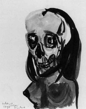 Marlene Dumas-Skelet met borsjes (Skeleton with bust)-1990