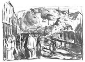 Edvard Munch-Feuersbrunst (Fire)-1920