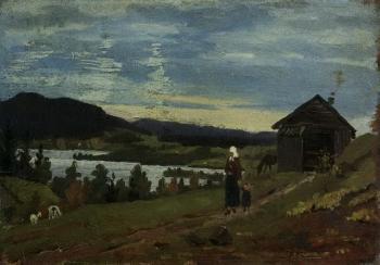 Edvard Munch-Landschaft in Norwegen / Landscape in Norway-1881