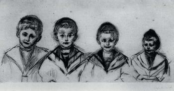 Edvard Munch-Portrait der vier Knaben Linde / Portrait of the Linde Boys / Portrait of Four Boys / Portrat der vier Knaben-1902