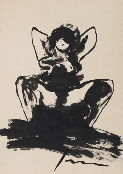 Lucio Fontana-Nudo femminile-