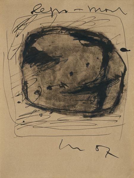 Lucio Fontana-Studio per parete spaziale (legno-piombo)-1957