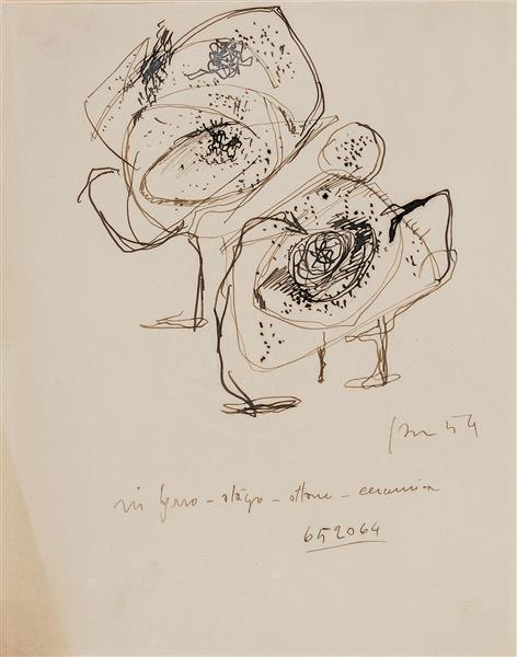 Lucio Fontana-Studi per Concetto Spaziale-1954