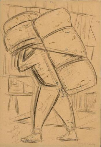 Diego Rivera-Man with Back-Pack-