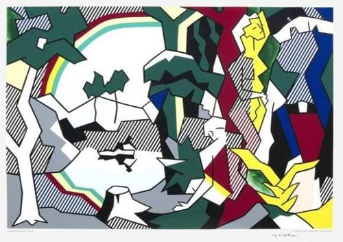 Roy Lichtenstein-Landscape with Figures and Rainbow-1989