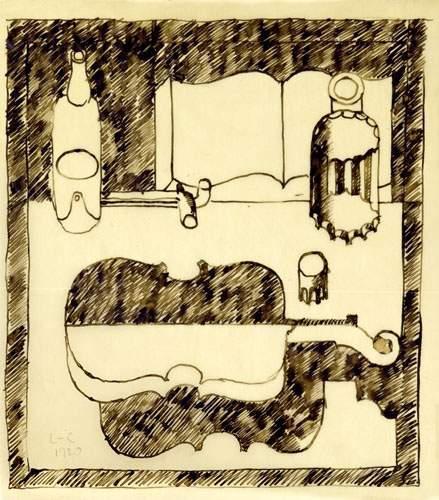 Le Corbusier-Nature morte puriste, livre ouvert, bouteilles et violon-1920