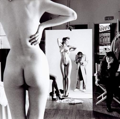 Helmut Newton-Self-portrait with wife and model-1981