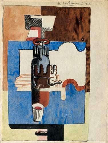Le Corbusier-Nature morte au verre, bouteille, livre et gant-1929