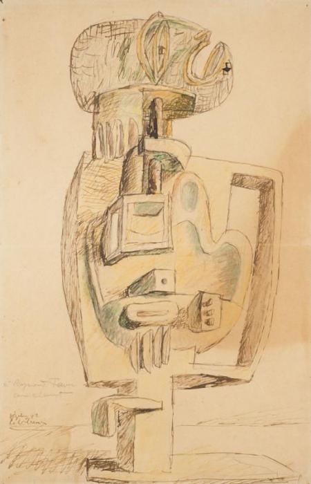 Le Corbusier-Composition a la sculpture negre-1942
