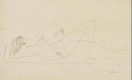 Lucio Fontana-Nudo femminile disteso-1935