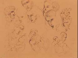 Lucio Fontana-Studi di volti-
