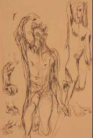 Lucio Fontana-Studio per monumento e particolari di mani-