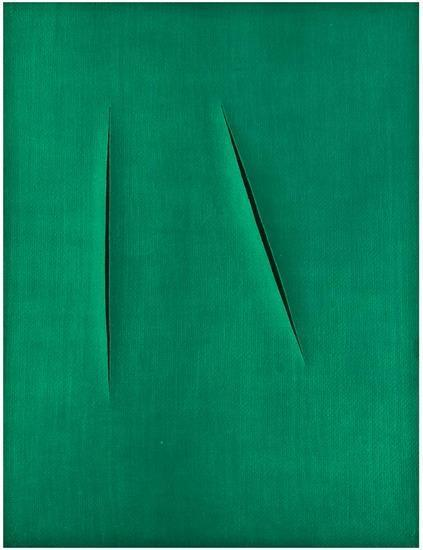 Lucio Fontana-Double Slice on Green-