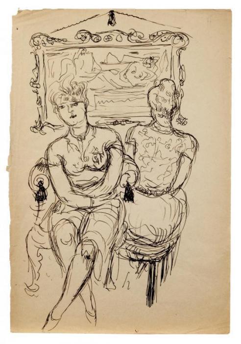Lucio Fontana-Due donne sedute-