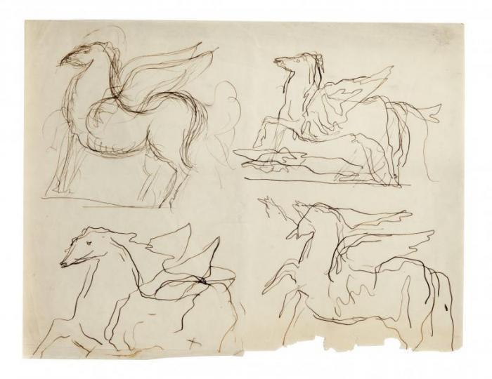 Lucio Fontana-Studi per cavallo alato-