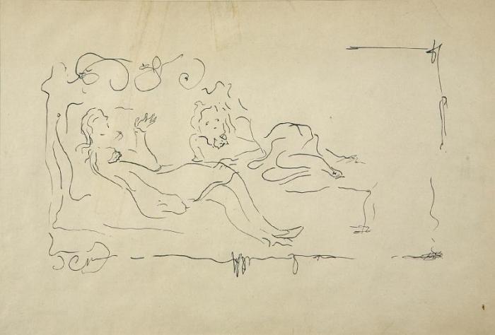Lucio Fontana-Donne sul sofa-