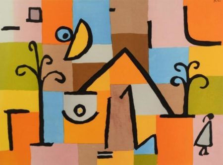 Paul Klee-Abstract with Figure, Trees, & House-