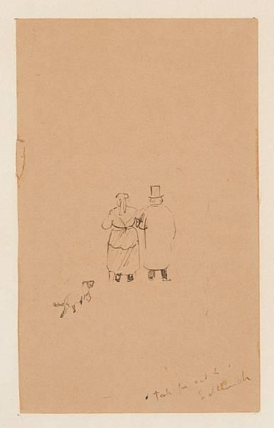 Edvard Munch-Ryggvendt Par Med Hund-1888